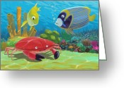 Marine Animals Greeting Cards - Underwater Sea Friends Greeting Card by Martin Davey