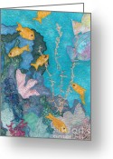 Framed Art Tapestries - Textiles Greeting Cards - Underwater Splendor II Greeting Card by Denise Hoag