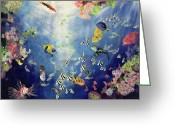 Aquarium Painting Greeting Cards - Underwater World II Greeting Card by Odile Kidd
