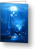 Star Mixed Media Greeting Cards - Underwater World Greeting Card by Svetlana Sewell