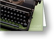 Typewriter Keys Greeting Cards - Underwood Greeting Card by Valerie Morrison