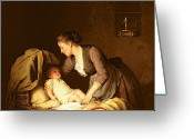 Kid Painting Greeting Cards - Undressing the Baby Greeting Card by Meyer von Bremen
