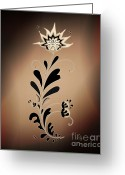 Linda D Seacord Greeting Cards - Une fleur tribale beige Greeting Card by Linda Seacord