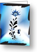 Linda D Seacord Greeting Cards - Une fleur tribale bleue encadree Greeting Card by Linda Seacord