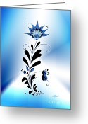 Linda D Seacord Greeting Cards - Une fleur tribale bleue Greeting Card by Linda Seacord