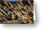 Mountain Range Greeting Cards - Unearthly world - Death Valleys badlands Greeting Card by Christine Till