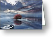 Red Maple Greeting Cards - Unfathomable Greeting Card by Lourry Legarde
