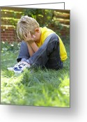 Autistic Greeting Cards - Unhappy Boy Greeting Card by Ian Boddy
