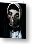 Crying Greeting Cards - Unholy Greeting Card by Aston Futcher