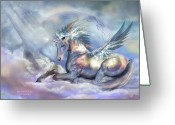 Unicorn Art Greeting Cards - Unicorn Of Peace Greeting Card by Carol Cavalaris