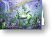 Iris Art Mixed Media Greeting Cards - Unicorn Of The Butterflies Greeting Card by Carol Cavalaris