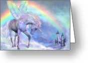 Unicorn Art Greeting Cards - Unicorn Of The Rainbow Greeting Card by Carol Cavalaris