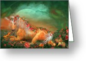 Romantic Art Greeting Cards - Unicorn Of The Roses Greeting Card by Carol Cavalaris