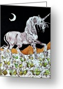 Moonlight Tapestries - Textiles Greeting Cards - Unicorn Over Flower Field Greeting Card by Carol  Law Conklin