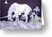 Moonlight Tapestries - Textiles Greeting Cards - Unicorn Pauses Greeting Card by Carol  Law Conklin