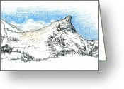 Sky.  Clouds Drawings Greeting Cards - Unicorn Peak in September Greeting Card by Logan Parsons