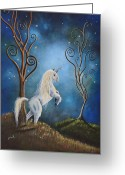Unicorn Art Greeting Cards - Unicorn print by Shawna Erback - Twilight Greeting Card by Shawna Erback