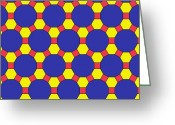 Hexagons Greeting Cards - Uniform Tiling Pattern Greeting Card by 