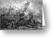 Civil Painting Greeting Cards - Union Charge At The Battle Of Gettysburg Greeting Card by War Is Hell Store