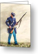 War Art Greeting Cards - Union Civil War Soldier Reloading Greeting Card by Randy Steele