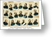 Civil Painting Greeting Cards - Union Commanders of The Civil War Greeting Card by War Is Hell Store