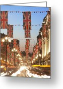 Long Street Greeting Cards - Union Jack Flags, Car Trails, Night, Regent Street Greeting Card by Laurie Noble