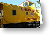 Old Caboose Greeting Cards - Union Pacific Caboose - 5D19205 Greeting Card by Wingsdomain Art and Photography