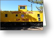 Old Caboose Greeting Cards - Union Pacific Caboose - 5D19206 Greeting Card by Wingsdomain Art and Photography