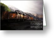 Boxcar Greeting Cards - Union Pacific Locomotive at Sunrise . 7D10561 Greeting Card by Wingsdomain Art and Photography