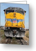 Rail Roads Greeting Cards - Union Pacific Locomotive Train - 5D18636 Greeting Card by Wingsdomain Art and Photography