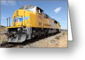 Rail Roads Greeting Cards - Union Pacific Locomotive Train - 5D18640 Greeting Card by Wingsdomain Art and Photography