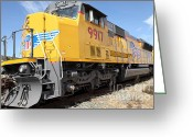 Rail Roads Greeting Cards - Union Pacific Locomotive Train - 5D18643 Greeting Card by Wingsdomain Art and Photography