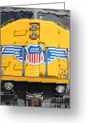 Rail Roads Greeting Cards - Union Pacific Locomotive Train - 5D18645 Greeting Card by Wingsdomain Art and Photography