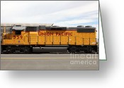 Boxcar Greeting Cards - Union Pacific Locomotive Train - 5D18648 Greeting Card by Wingsdomain Art and Photography