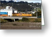 Rail Roads Greeting Cards - Union Pacific Locomotive Train . 7D15062 Greeting Card by Wingsdomain Art and Photography