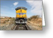 Rail Roads Greeting Cards - Union Pacific Locomotive Trains . 5D18644 Greeting Card by Wingsdomain Art and Photography