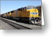 Rail Roads Greeting Cards - Union Pacific Locomotive Trains . 5D18820 Greeting Card by Wingsdomain Art and Photography