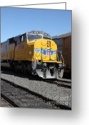 Rail Roads Greeting Cards - Union Pacific Locomotive Trains . 5D18821 Greeting Card by Wingsdomain Art and Photography