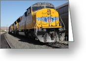Rail Roads Greeting Cards - Union Pacific Locomotive Trains . 5D18824 Greeting Card by Wingsdomain Art and Photography