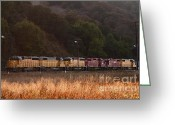 Locomotives Greeting Cards - Union Pacific Locomotive Trains . 7D10551 Greeting Card by Wingsdomain Art and Photography