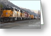 Train Track Greeting Cards - Union Pacific Locomotive Trains . 7D10563 Greeting Card by Wingsdomain Art and Photography