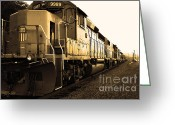 Train Track Greeting Cards - Union Pacific Locomotive Trains . 7D10588 . sepia Greeting Card by Wingsdomain Art and Photography
