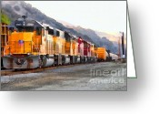 Rail Roads Greeting Cards - Union Pacific Locomotives Along The Hills of Martinez California . 7D10563 Greeting Card by Wingsdomain Art and Photography