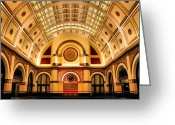 Clock Greeting Cards - Union Station Balcony Greeting Card by Kristin Elmquist