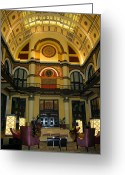 Clock Greeting Cards - Union Station Lobby Greeting Card by Kristin Elmquist