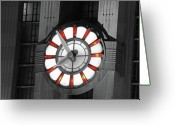 Prints Pyrography Greeting Cards - Union Terminal Clock Greeting Card by Russell Todd
