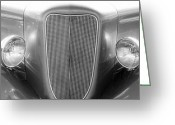 Monochrome Hot Rod Greeting Cards - Unique Black and White Old Car Greeting Card by M K  Miller