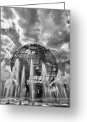 Daniel Greeting Cards - Unisphere and Fountains Flushing Meadow Park NYC Greeting Card by Robert Ullmann