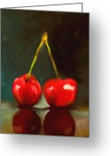 Cherries Greeting Cards - United Greeting Card by Jai Johnson