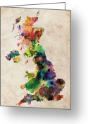 Urban Watercolour Greeting Cards - United Kingdom Watercolor Map Greeting Card by Michael Tompsett